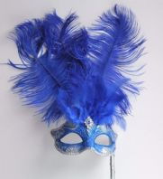 Blue and Silver Feather Stick Mask